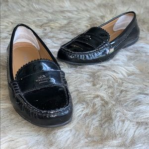 COACH ODETTE BLACK PATENT LEATHER LOAFERS